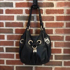 Michael Kors Black Leather Hobo Bag with Tassles